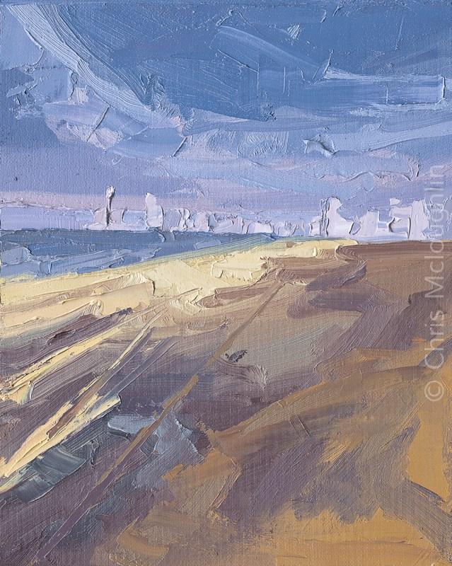 """A Turbulant Day on the Sands"" original fine art by Chris Mcloughlin"