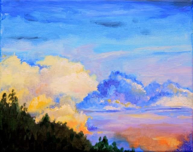 """Study of clouds approaching dusk"" original fine art by Hilary J. England"