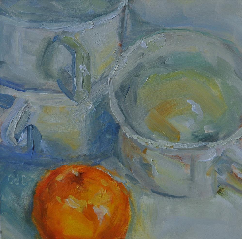 """White Tea Cups"" original fine art by Catherine Crookston"