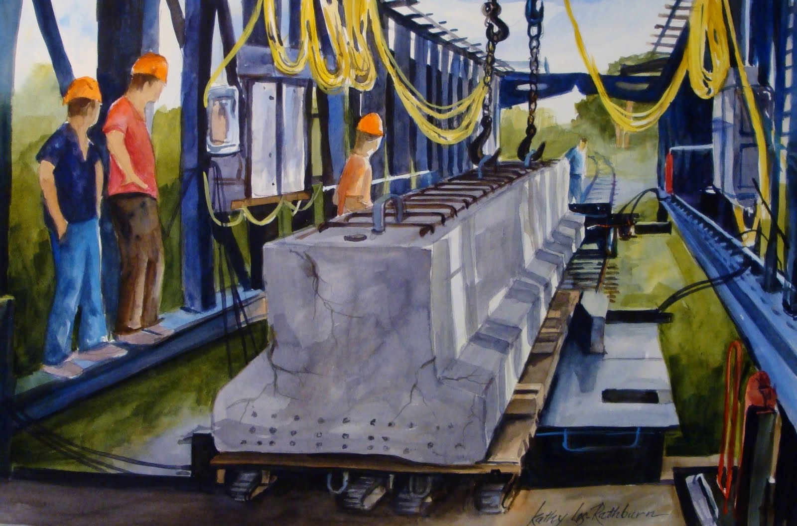 """Working on the Railroad"" original fine art by Kathy Los-Rathburn"