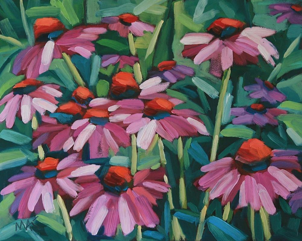 """Pink Coneflowers"" original fine art by Mary Anne Cary"
