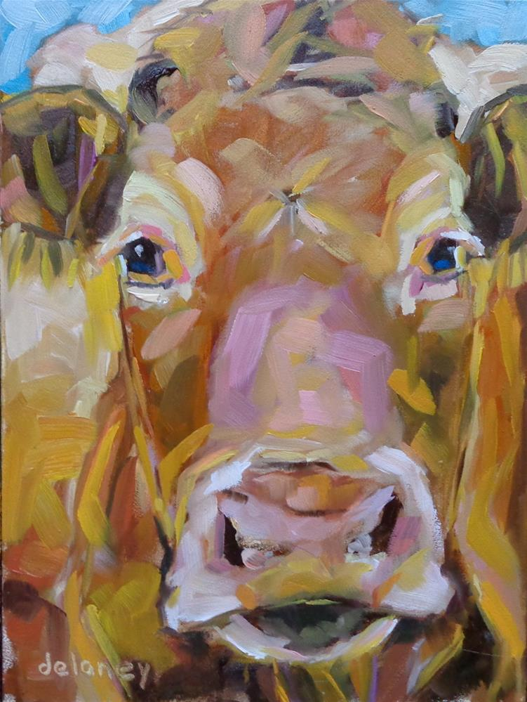 """Cow 101 MISS MANNERS"" original fine art by Jean Delaney"