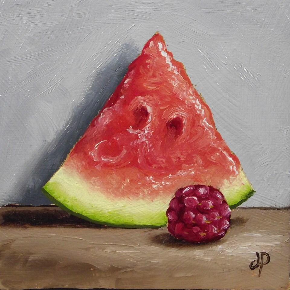 """Little Watermelon & Raspberry"" original fine art by Jane Palmer"
