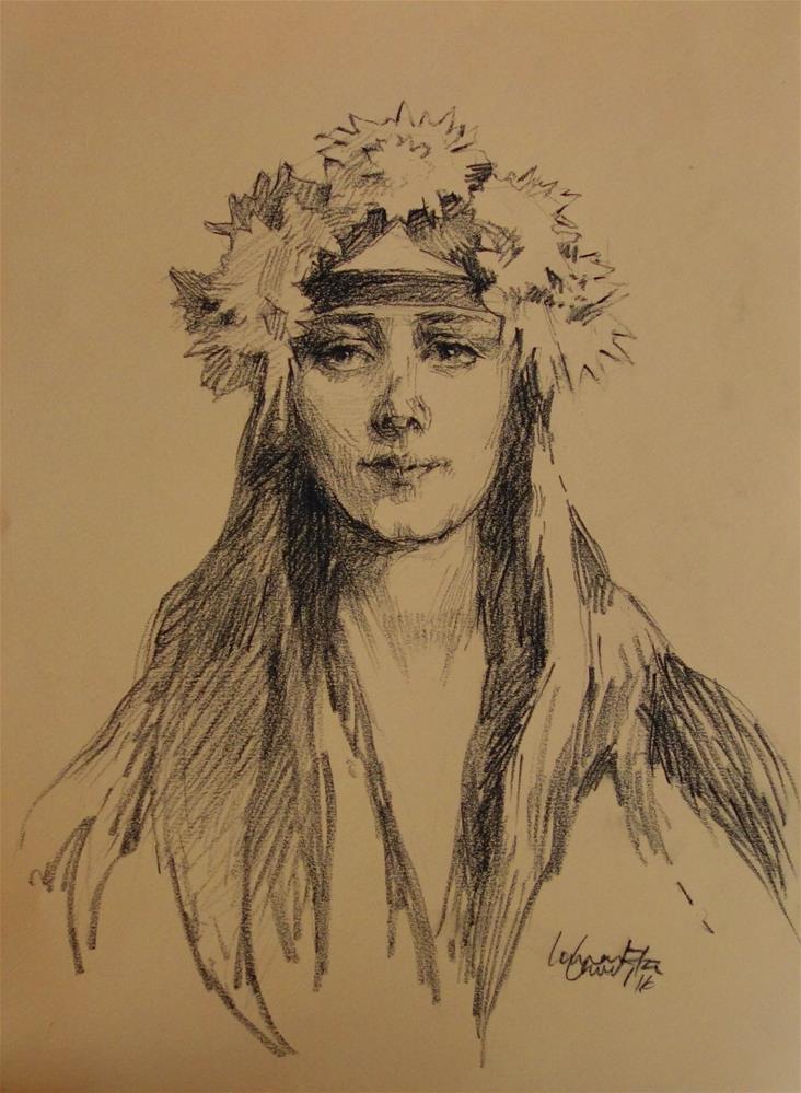 """Crown of Flowers"" original fine art by Lorraine Lewitzka"