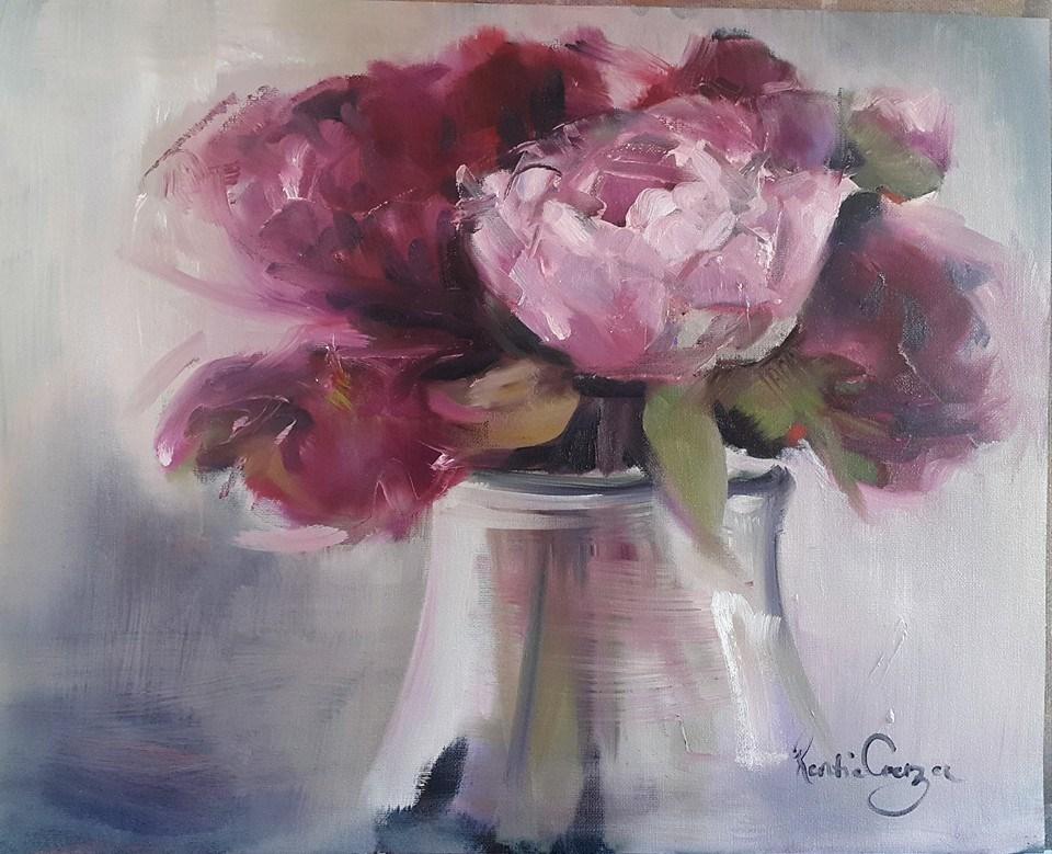 """""""Peonies from my garden"""" original fine art by Rentia Coetzee"""