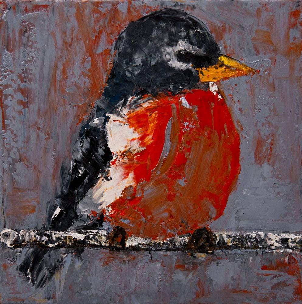 """The Fat Robin"" original fine art by Jani Freimann"