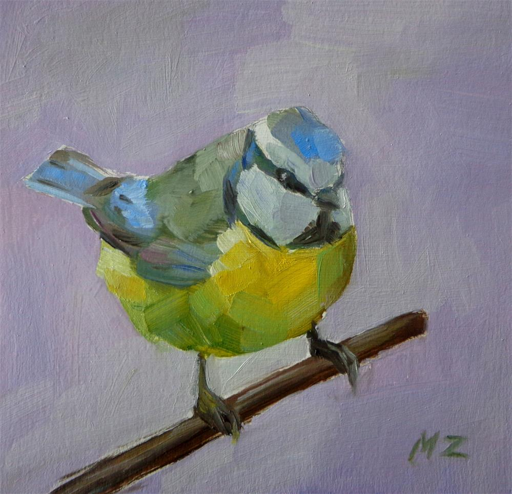 """Blue tit"" original fine art by Maria Z."