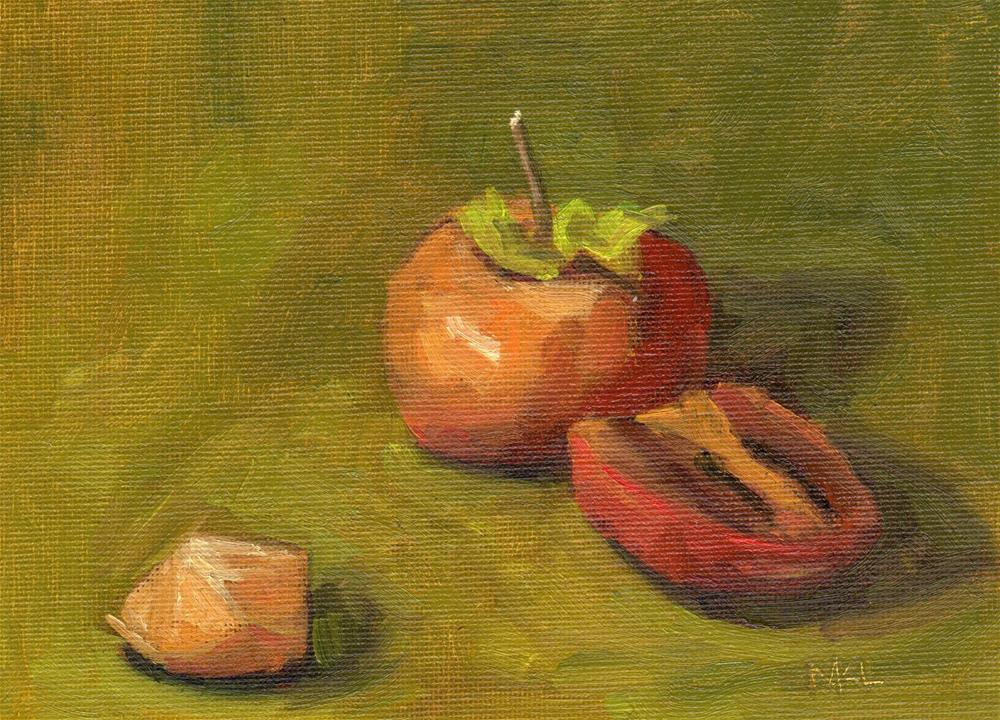 """Cut-up Persimmon"" original fine art by Marlene Lee"
