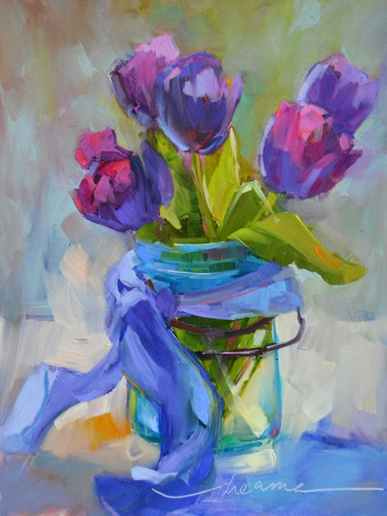 """Cottage Tulips and A Perfectly Beautiful NOW"" original fine art by Dreama Tolle Perry"