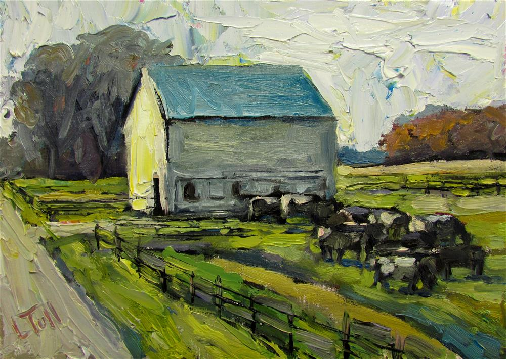 """Indiana Barn with Cow"" original fine art by Lindsey Elizabeth Tull"