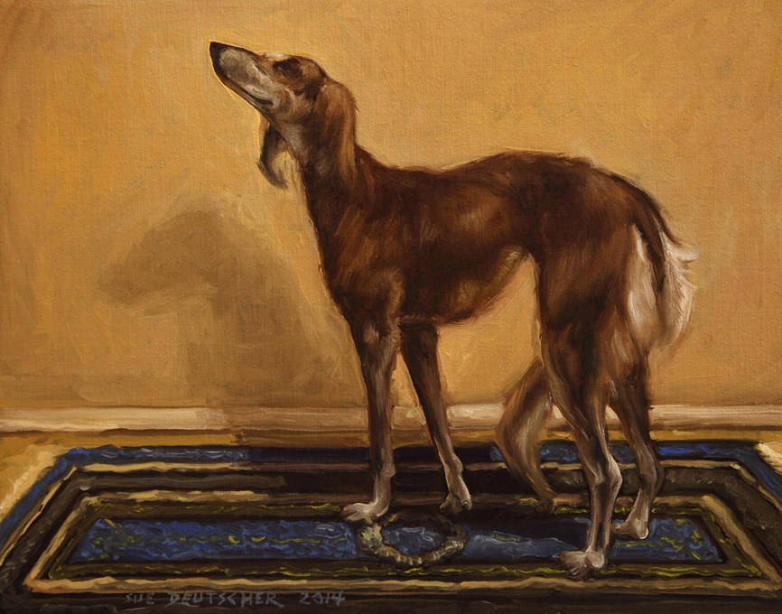"""Saluki says What?"" original fine art by Sue Deutscher"
