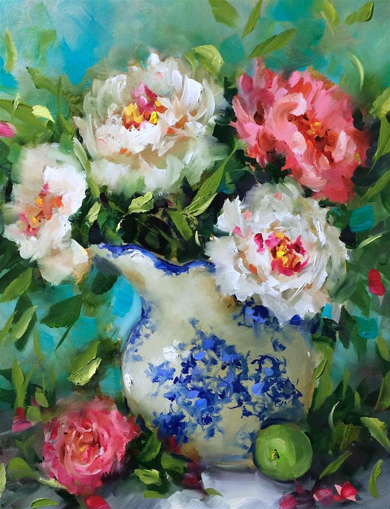 """Spring Rhapsody Peonies"" original fine art by Nancy Medina"