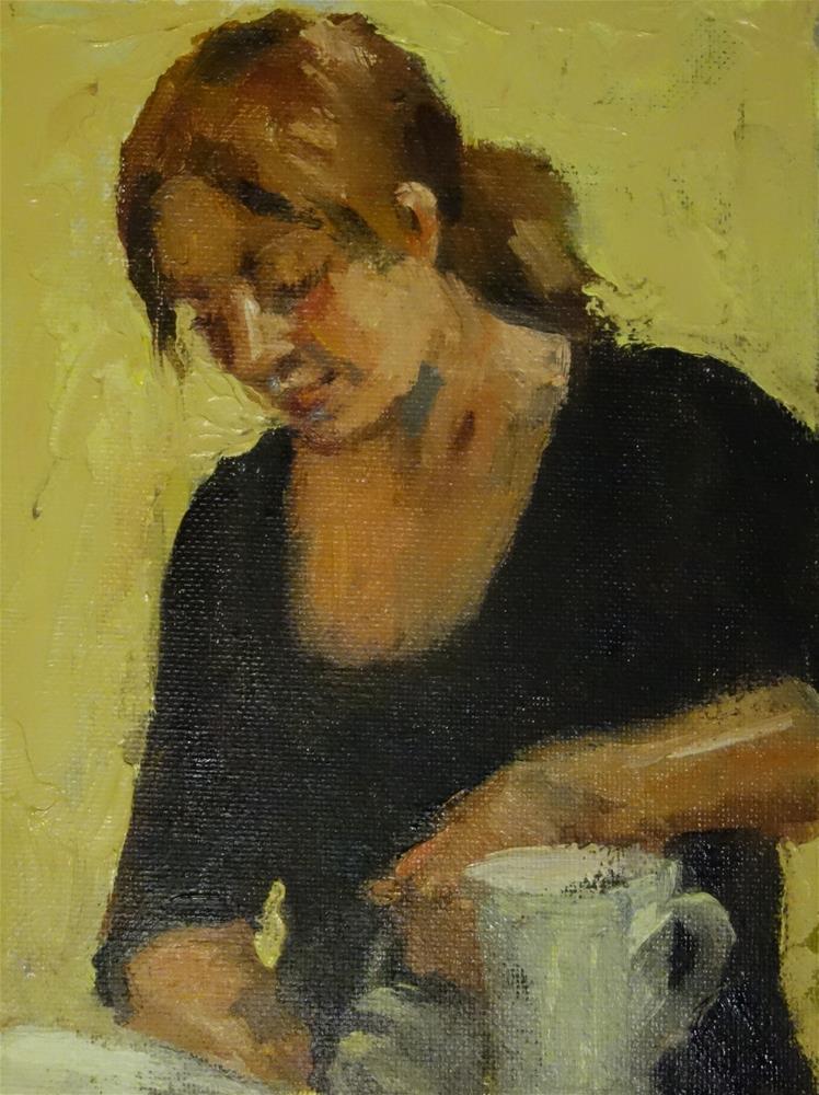 """Coffee girl in yellow."" original fine art by Lorraine Lewitzka"