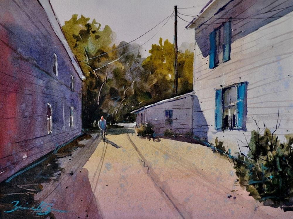 """Alley Shadows"" original fine art by Brienne M Brown"