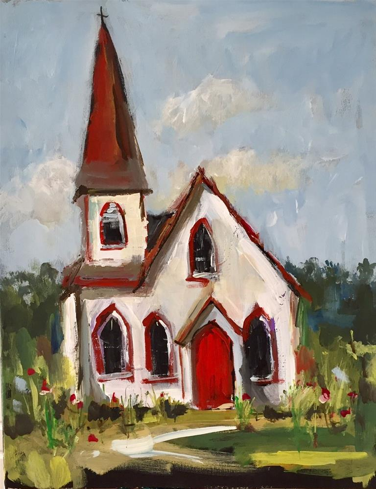 """The Red Door of Fellowship"" original fine art by Marcia Hodges"