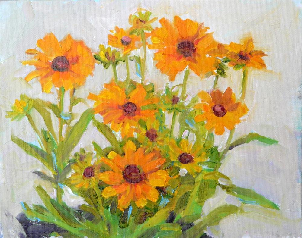 """Black Eyed Susan,still life,oil on canvas,8x10,price$200"" original fine art by Joy Olney"