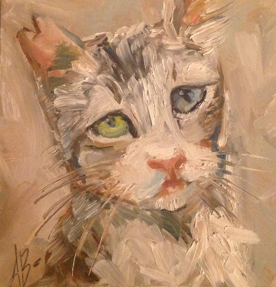 """Feral cat's nipped ear"" original fine art by Annette Balesteri"
