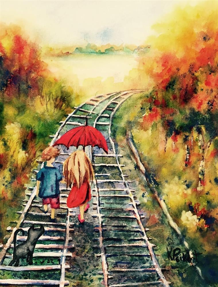"""""""Follow the Tracks"""" original fine art by Karen Peikert"""