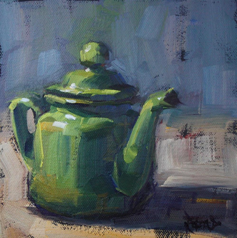"""""""Odd Little Green Teapot"""" original fine art by Cathleen Rehfeld"""