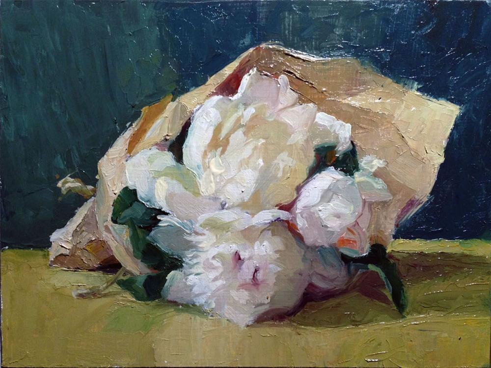 """Small Peony Posy in the evening"" original fine art by Myriam Kin-Yee"