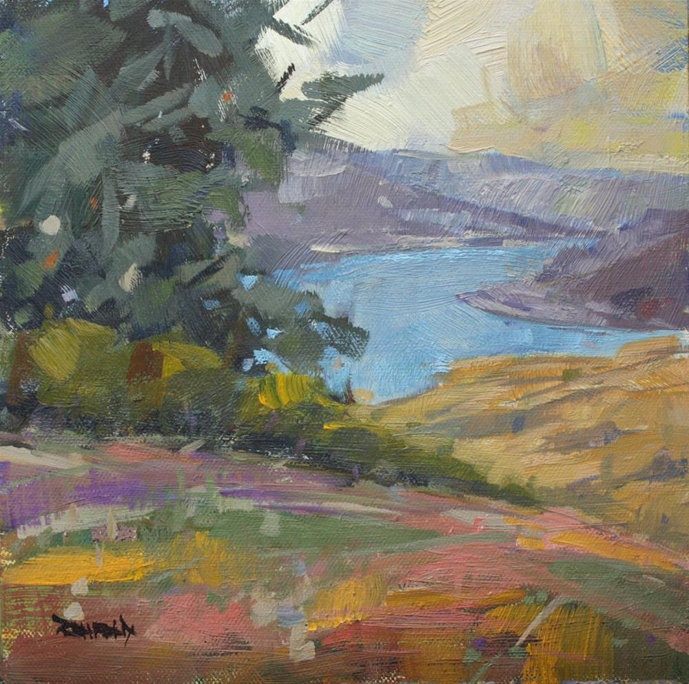 """Looking Down on the Columbia River"" original fine art by Cathleen Rehfeld"