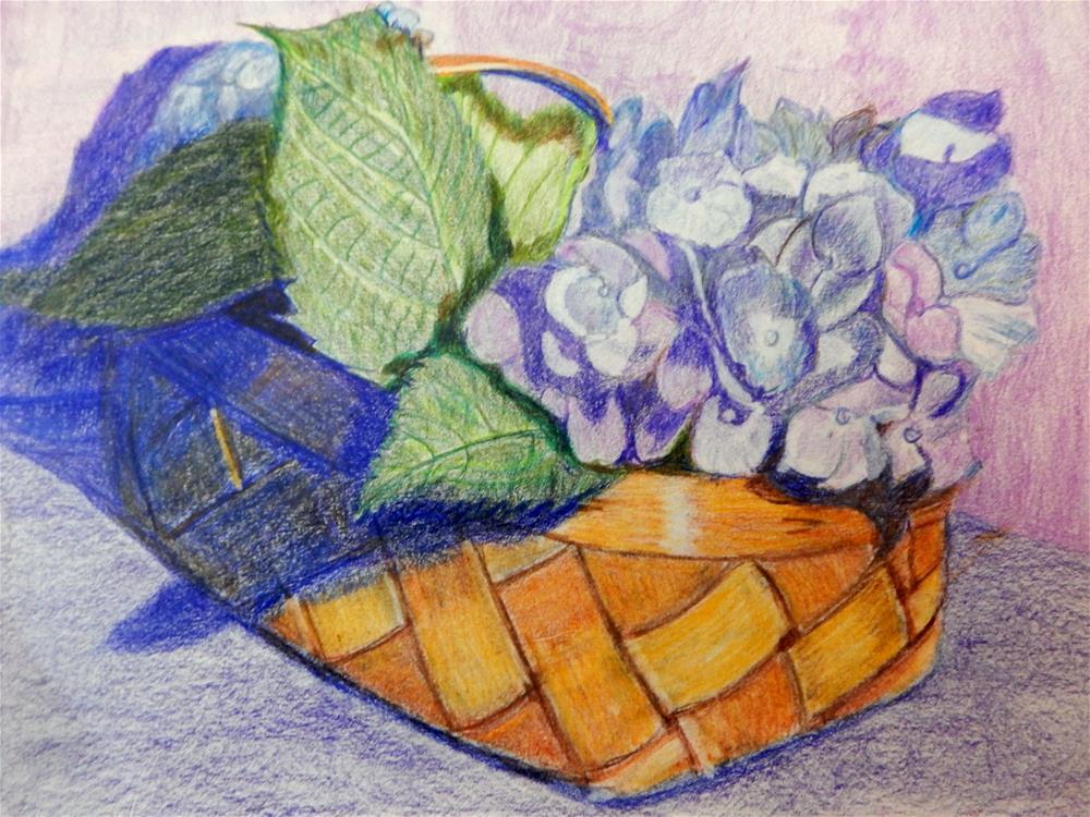 """Basket of Blue"" original fine art by Elaine Shortall"