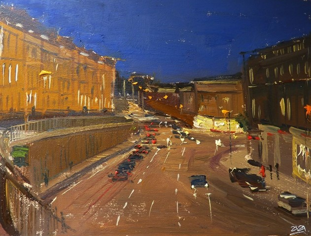 """The City of Bath Nocturne I."" original fine art by Adebanji Alade"