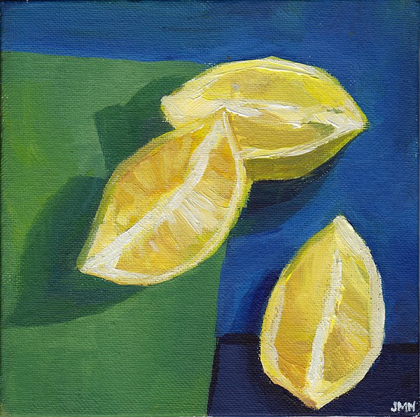 """Three Lemon Slices"" original fine art by J M Needham"