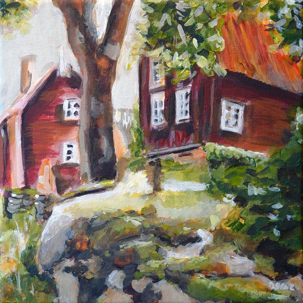 """0416 Backyard Romance - Hinterhofromanze"" original fine art by Dietmar Stiller"