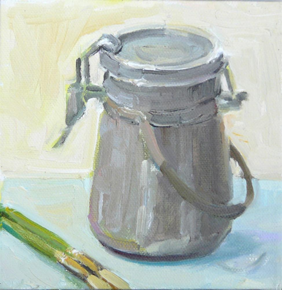"""Turp Can and Brushes,still life,oil on canvas,6x6,price$150"" original fine art by Joy Olney"