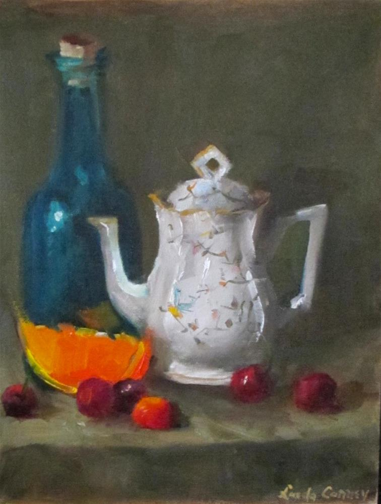 """Teapot with orange"" original fine art by Linda Carney"