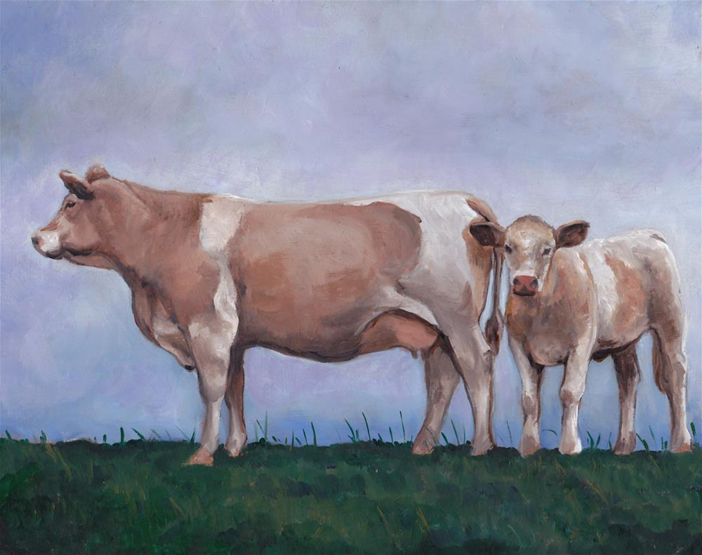 """Cows on the Hill"" original fine art by Charlotte Yealey"