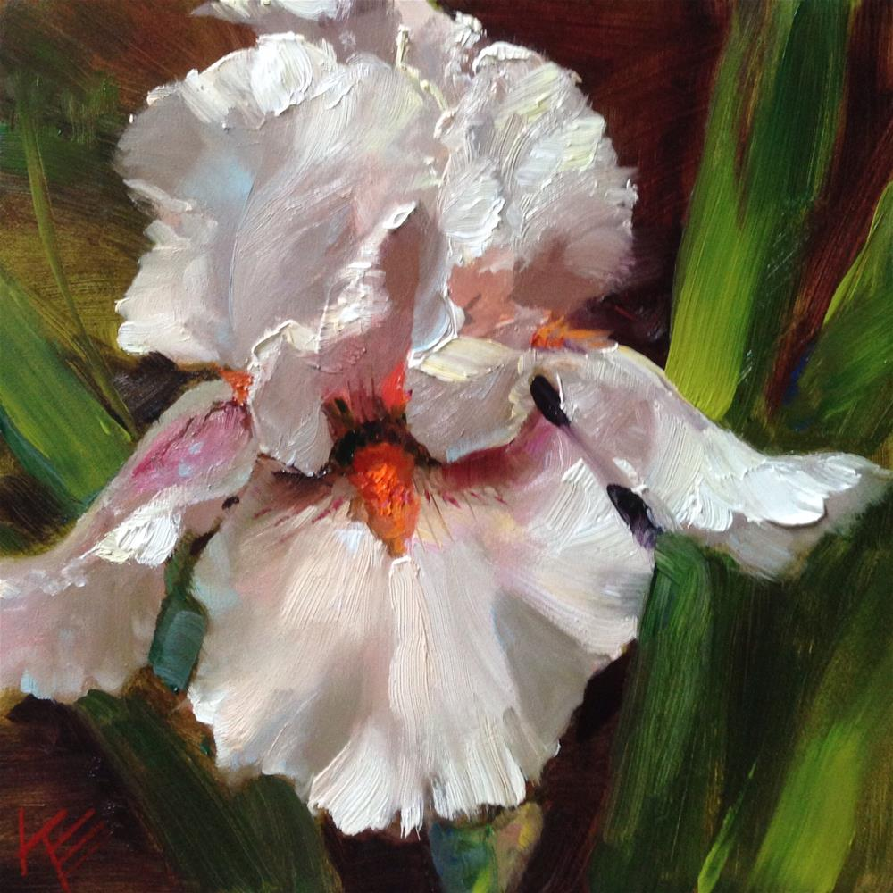 """~Blushing Bride - Tall bearded iris~"" original fine art by Krista Eaton"