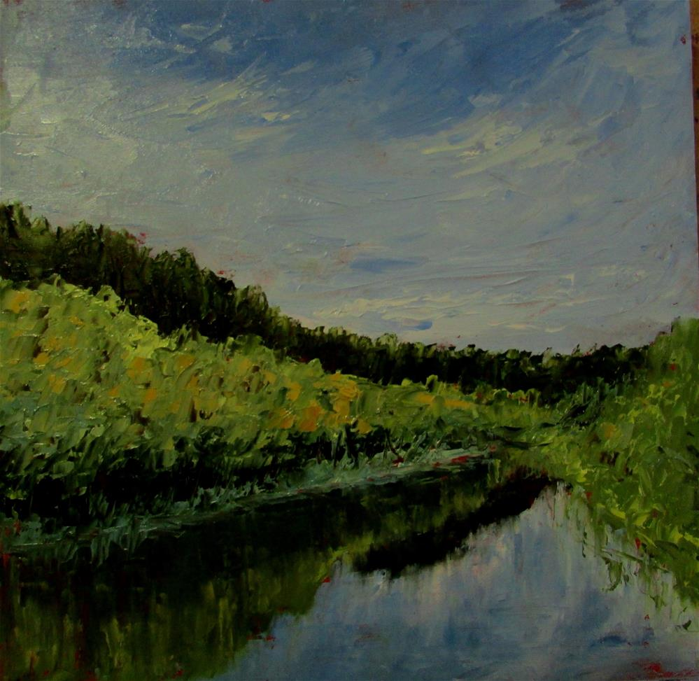 """8 x 8 inch oil Somenoes Creek"" original fine art by Linda Yurgensen"