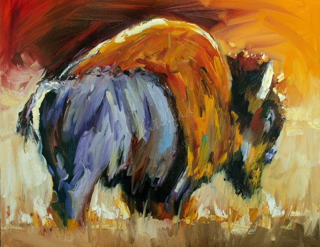 """ARTOUTWEST BISON GRAZING THE PARK OIL PAINTING BY Diane Whitehead"" original fine art by Diane Whitehead"