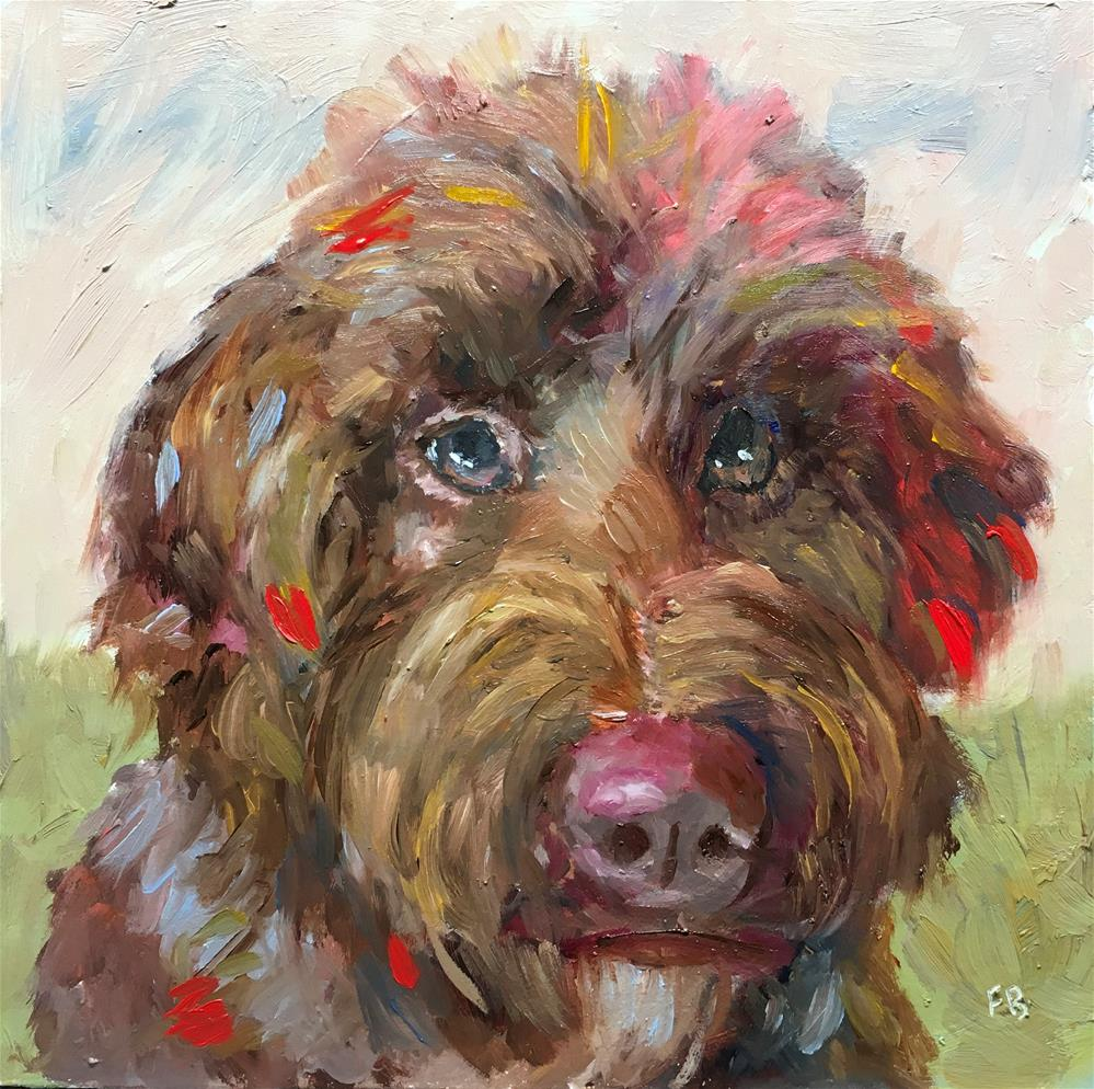 """160 Intelligent Dog"" original fine art by Fred Bell"