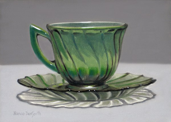 """Glass Cup & Saucer"" original fine art by Nance Danforth"