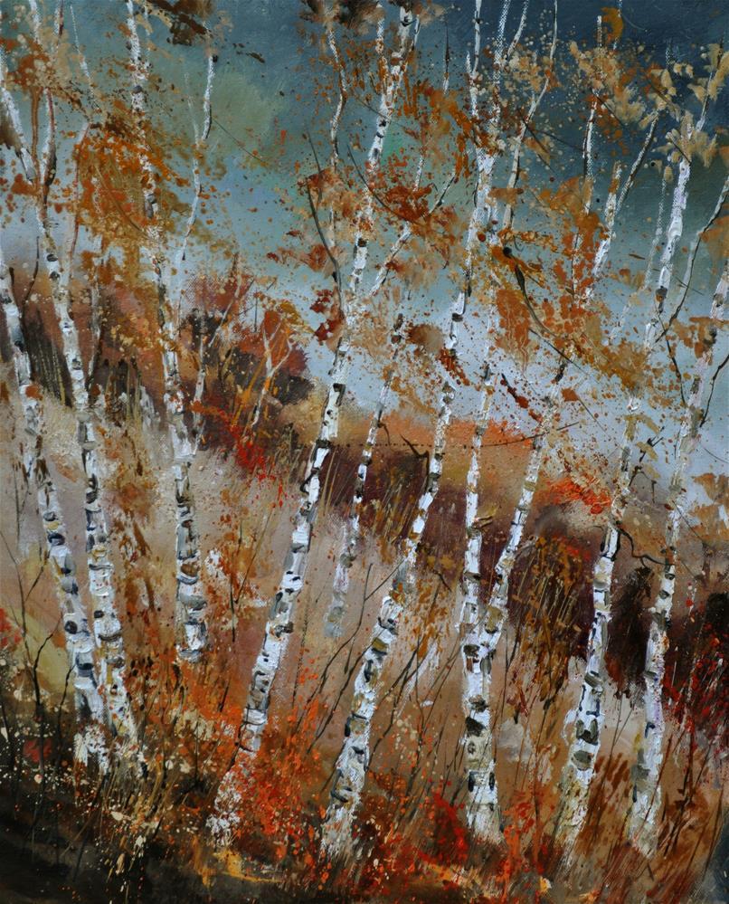 """A gust of wind on aspen trees"" original fine art by Pol Ledent"