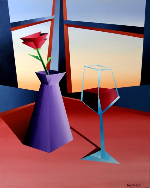 """Mark Adam Webster - Abstract Wine at Sunset #1 Geometric Acrylic Painting"" original fine art by Mark Webster"