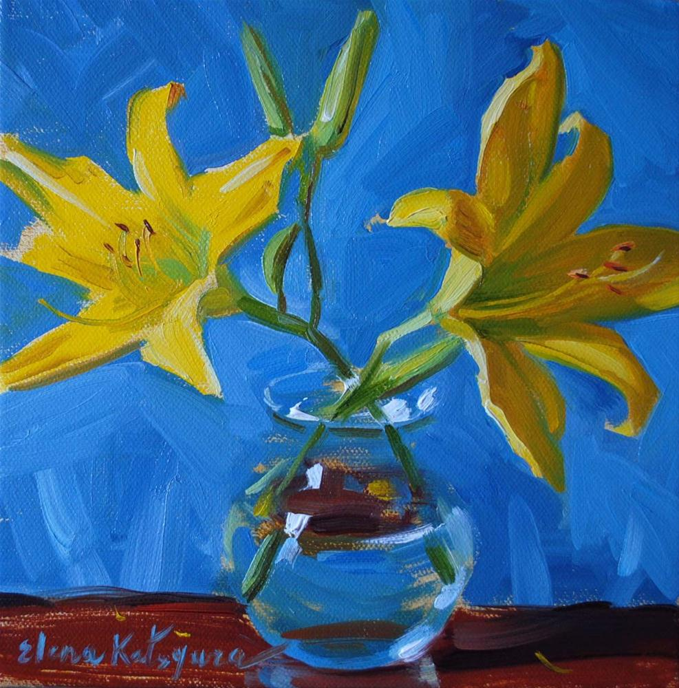 """Lilies in a Vase II"" original fine art by Elena Katsyura"