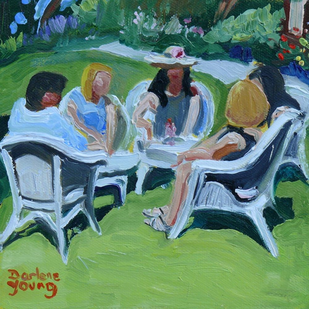 """Tea In the Gartden"" original fine art by Darlene Young"