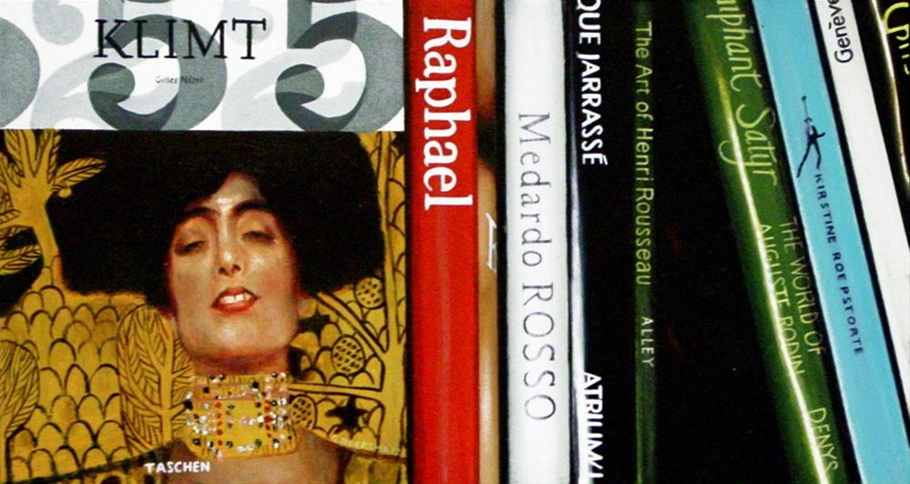 """Klimt Books- Still Life Painting Of Bookshelf With Art Books"" original fine art by Gerard Boersma"