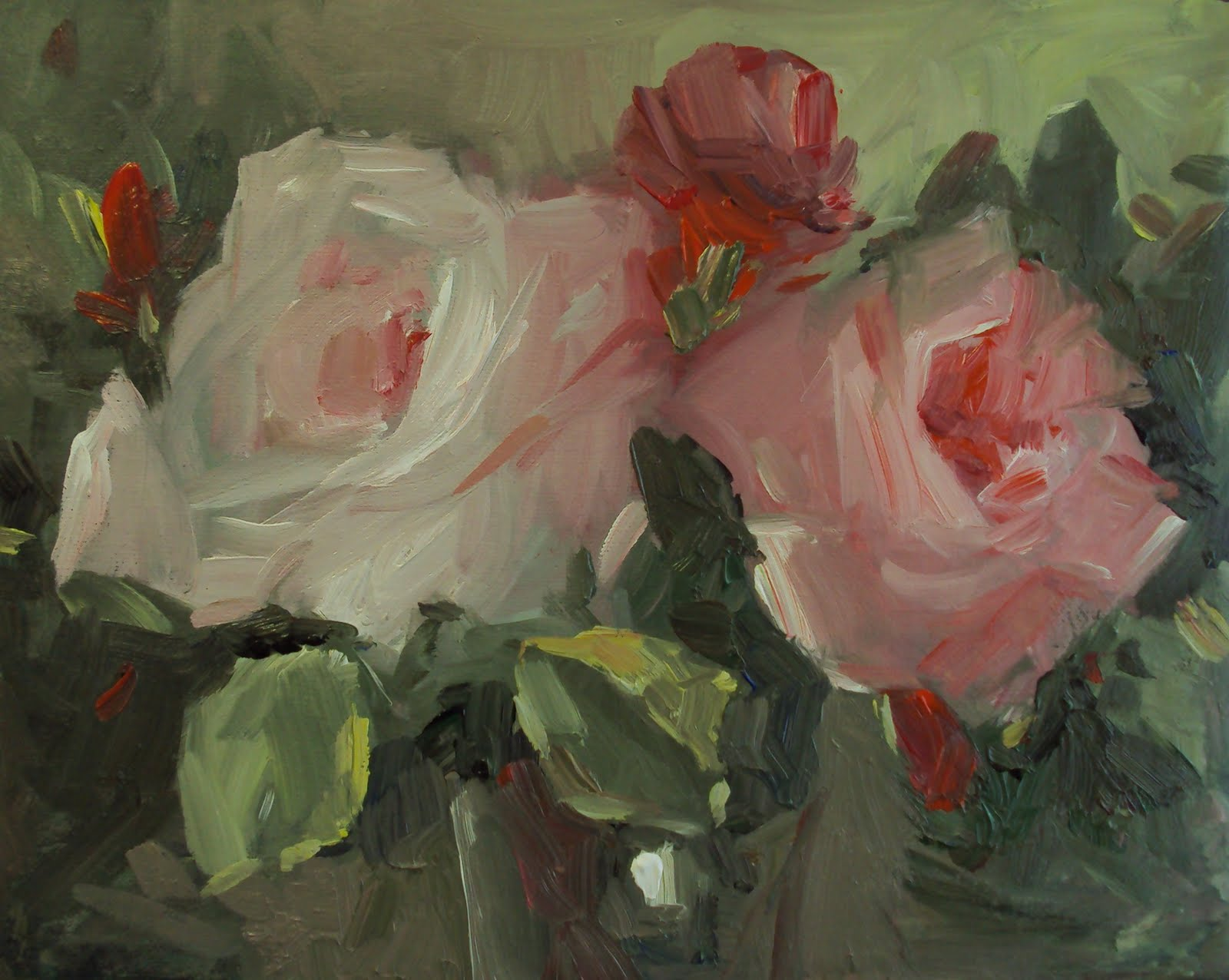 """Cottage garden roses"" original fine art by Parastoo Ganjei"