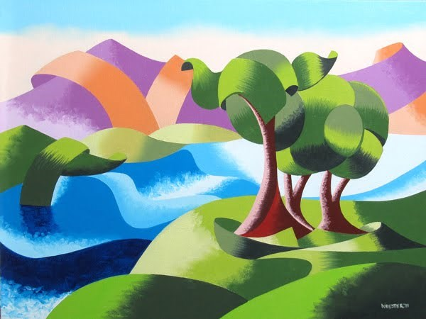 """Mark Webster - Elephant Trees at the Watering Hole - Abstract Geometric Landscape Oil Painting"" original fine art by Mark Webster"