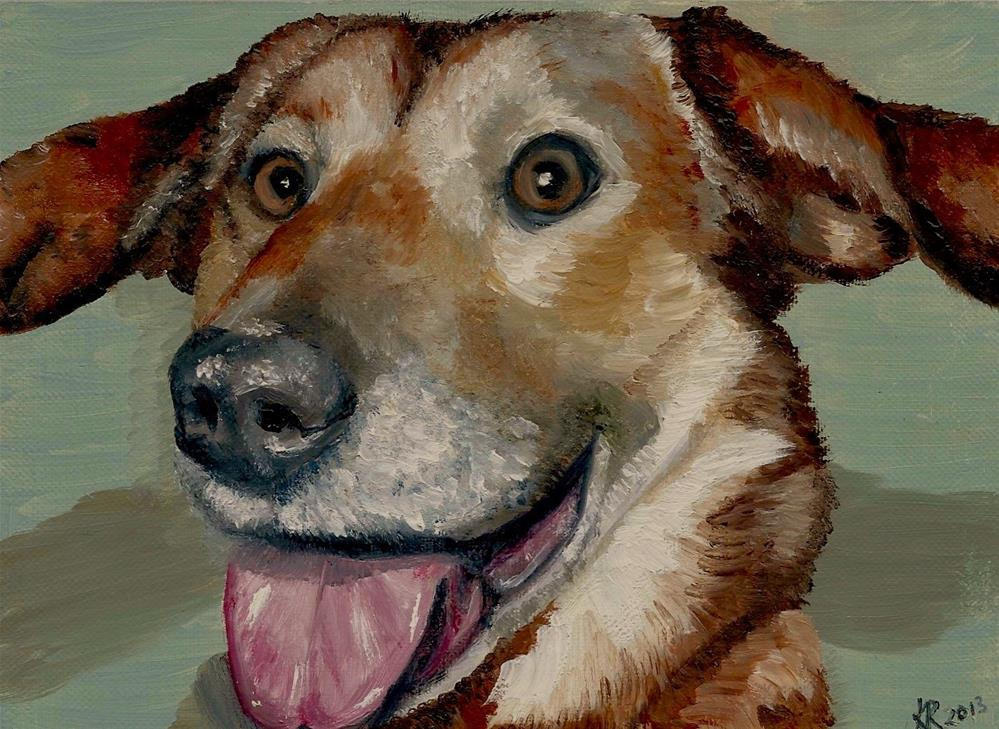 """Smiling Dog - Happy Easter!"" original fine art by Karen Robinson"
