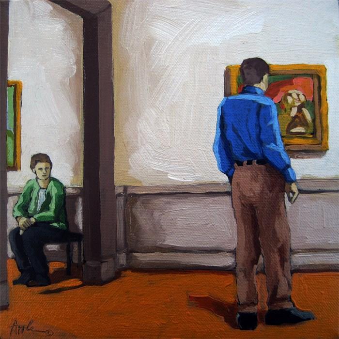 """Man & Woman at Art Museum figurative oil painting"" original fine art by Linda Apple"