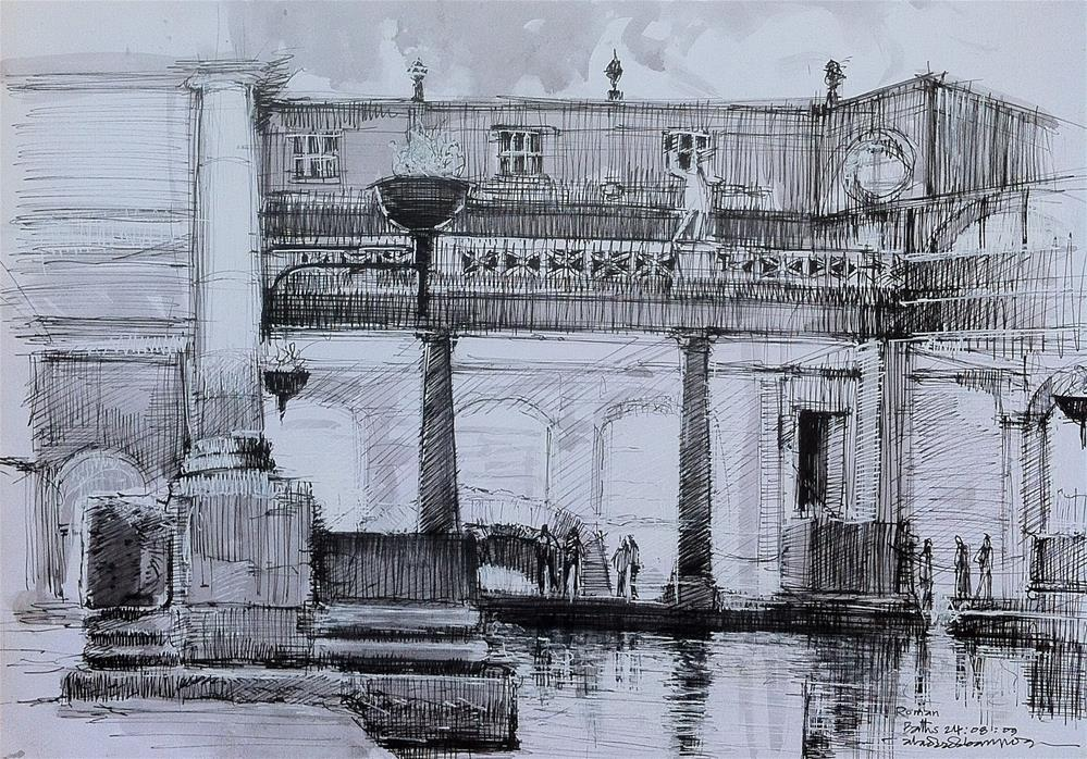 """Roman Bath, City of Bath"" original fine art by Adebanji Alade"