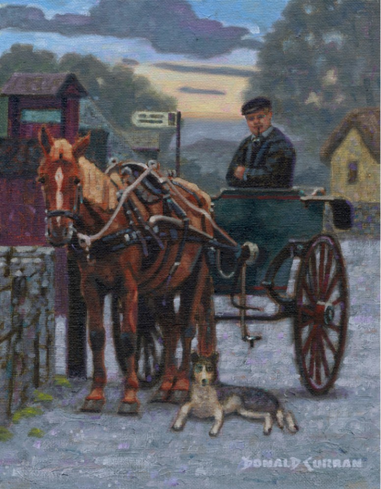 """Irish Jaunting Cart"" original fine art by Donald Curran"