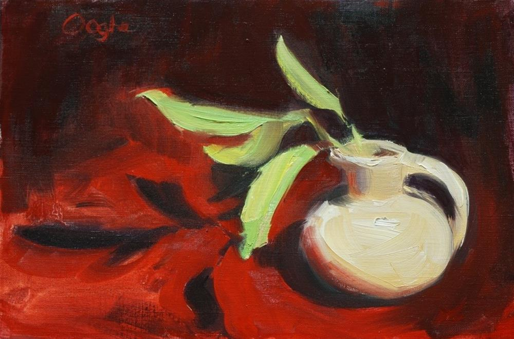 """Small Pitcher with Leaves"" original fine art by Angela Ooghe"