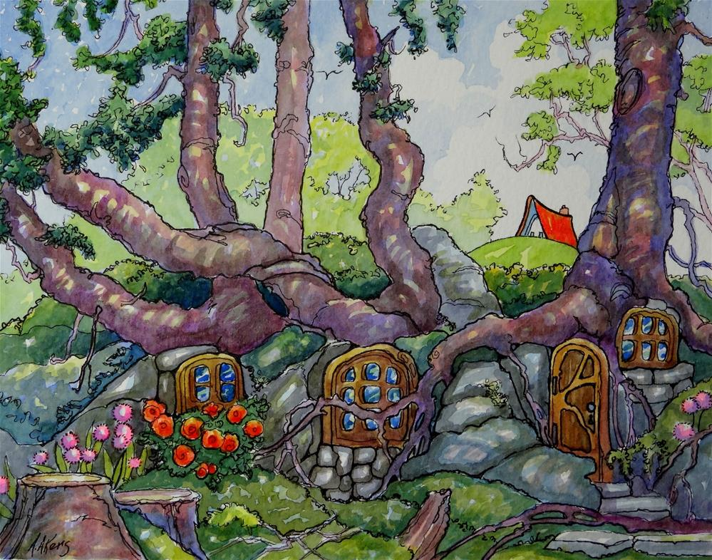 """""""Might be Hobbits But Probably Fairies Storybook Cottage Series"""" original fine art by Alida Akers"""